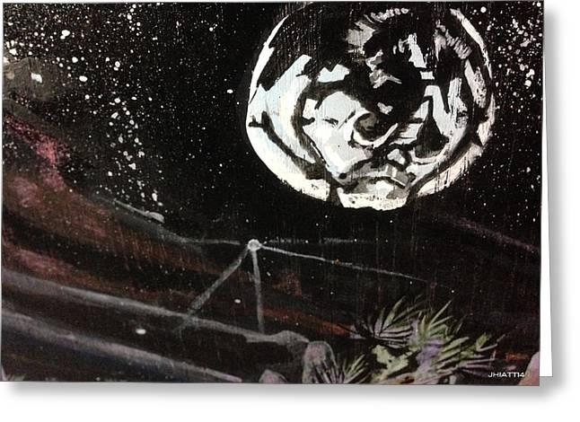 Man In The Moon Greeting Cards - Luna Greeting Card by Justin Hiatt