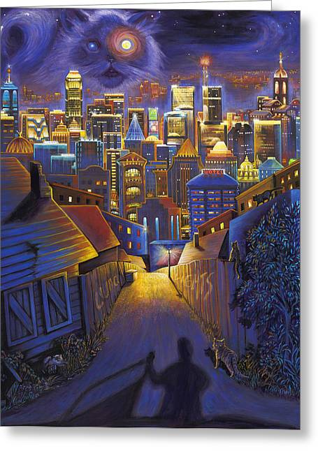 Theater Greeting Cards - Luna Lights Greeting Card by Brenda Ferrimani