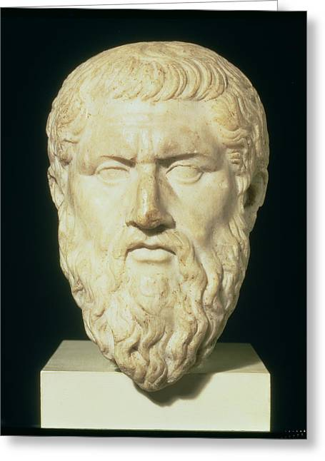 Greek Sculpture Greeting Cards - Luna Marble Head Of Plato, Roman, 1st Greeting Card by .