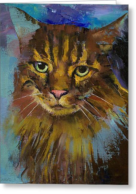 Maine Coon Greeting Cards - Luna Greeting Card by Michael Creese