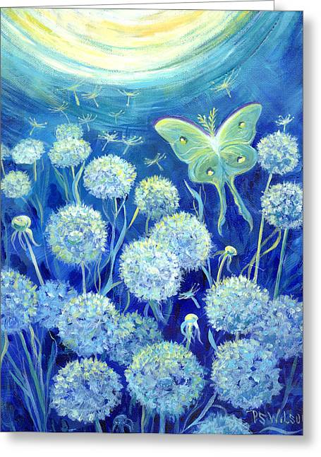 Luna Greeting Cards - Luna Moth in Moonlight with Dandelions Greeting Card by Peggy Wilson