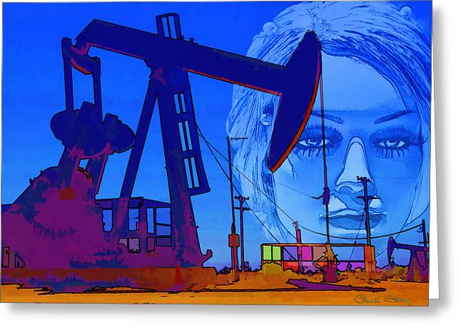 Luna Greeting Cards - Luna Oil Well Greeting Card by Chuck Staley