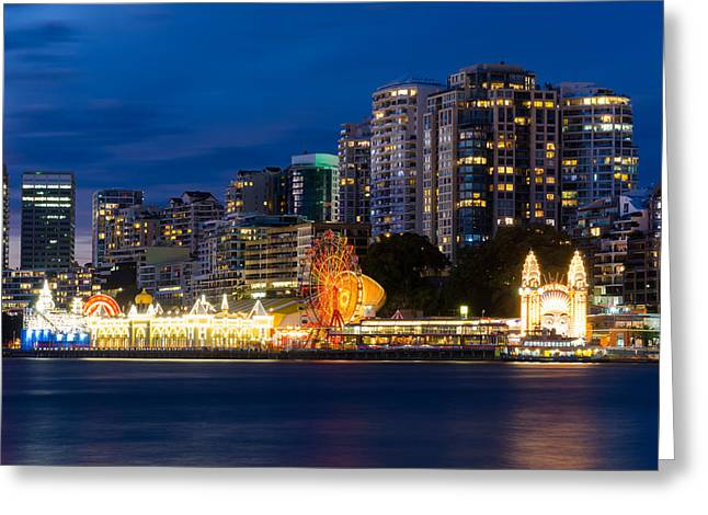 Buildings In The Harbor Greeting Cards - Luna Park - North Sydney Greeting Card by Andre Distel