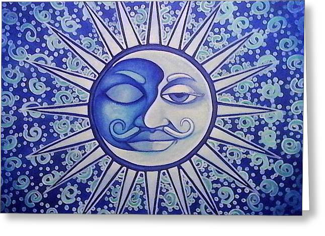 Stellar Paintings Greeting Cards - Luna Greeting Card by Ramon Lopez Collazo