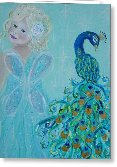 Charlotte Paintings Greeting Cards - Luna Shows Her Feathers Greeting Card by The Art With A Heart By Charlotte Phillips