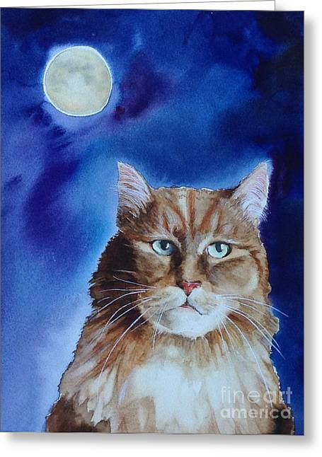 Prowler Paintings Greeting Cards - Lunar Cat Greeting Card by Kym Stine