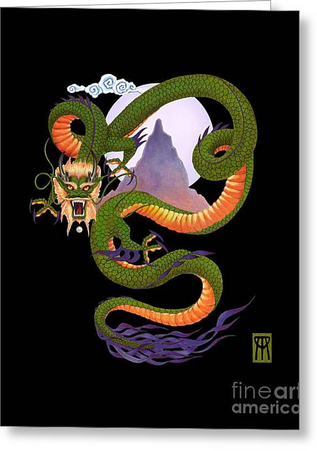 Mixed Media Greeting Cards - Lunar Chinese Dragon on Black Greeting Card by Melissa A Benson