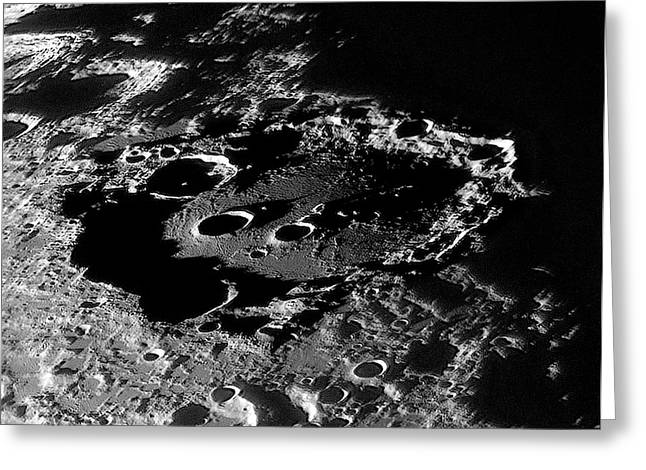 Lunar Crater Clavius At Sunrise Greeting Card by Damian Peach