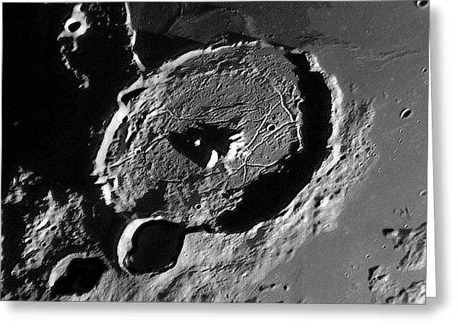 Lunar Crater Gassendi At Sunrise Greeting Card by Damian Peach