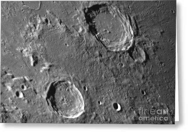 Moon Surface Greeting Cards - Lunar Craters Aristoteles And Eudoxus Greeting Card by John Chumack