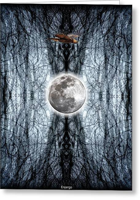 Luna Mixed Media Greeting Cards - Lunar Darkroom.  Greeting Card by Enjargo  Art