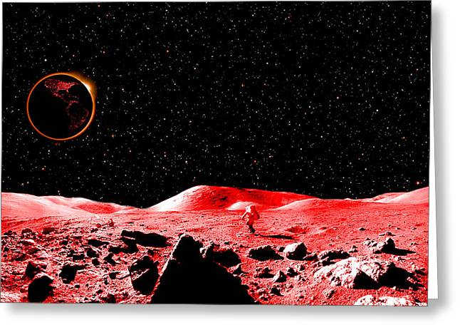 Exploration Greeting Cards - Lunar Eclipse as seen from the Moon Greeting Card by J D Owen