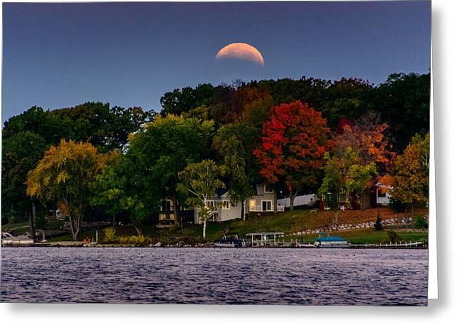 Blood Moon Greeting Cards - Lunar Eclipse over Pewaukee Lake Greeting Card by Randy Scherkenbach