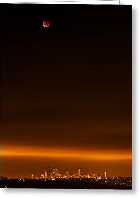 Bellevue Greeting Cards - Lunar Eclipse Over Seattle Greeting Card by Thorsten Scheuermann