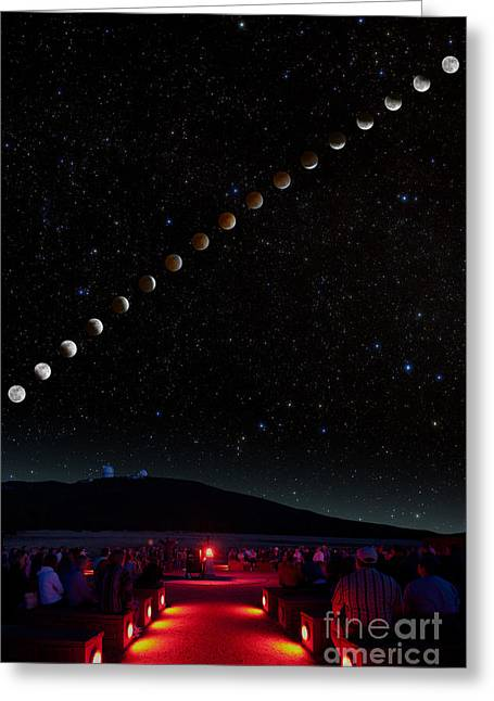 Outerspace Greeting Cards - Lunar Eclipse Path Greeting Card by Larry Landolfi