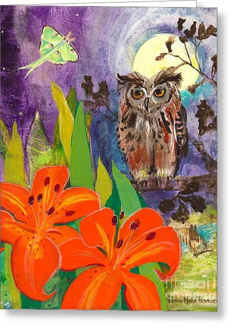 Lunar Enchantment Greeting Card by Robin Maria  Pedrero