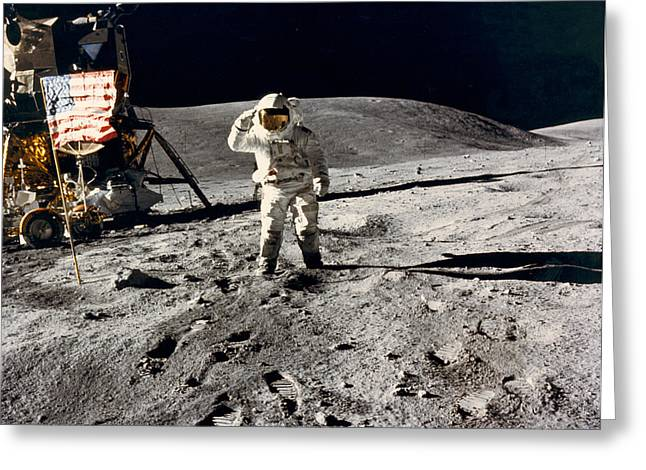 Lunar Flag Salute Greeting Card by Underwood Archives