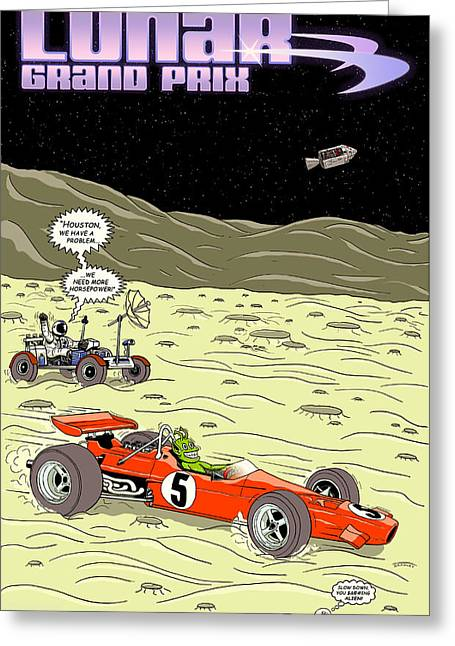 Sea Of Tranquility Greeting Cards - Lunar Grand Prix 1969 Greeting Card by Nomad Art And  Design