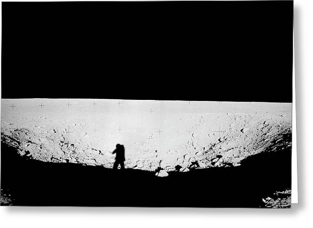 Lunar Landscape Greeting Card by Nasa/detlev Van Ravenswaay