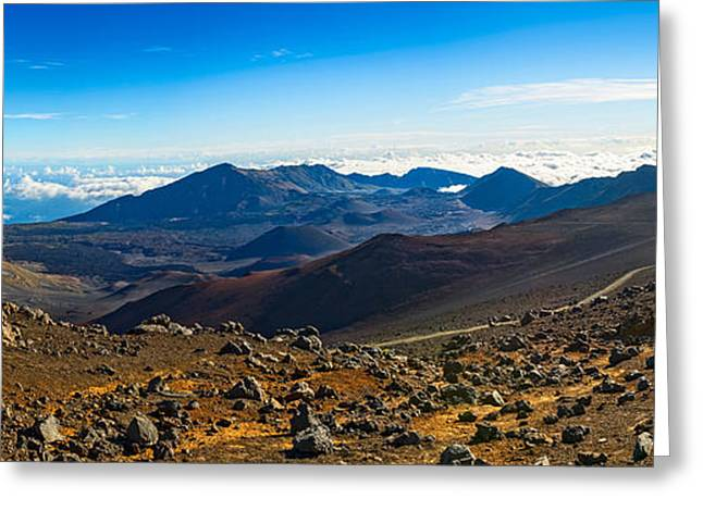 Above The Clouds Greeting Cards - Lunar Landscape - the summit of Haleakala Volcano in Maui. Greeting Card by Jamie Pham