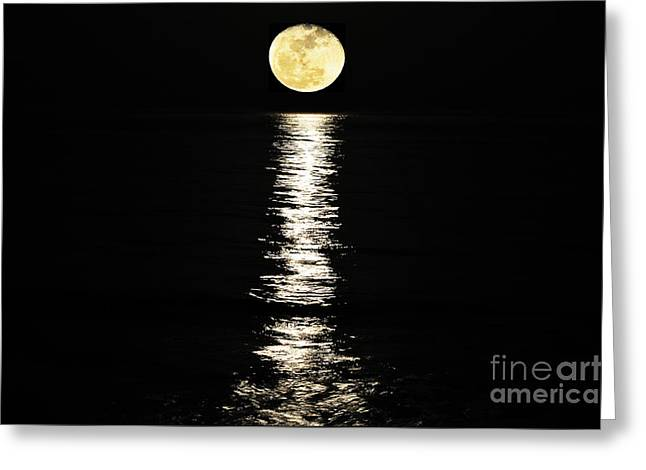 Moon Beach Photographs Greeting Cards - Lunar Lane Greeting Card by Al Powell Photography USA