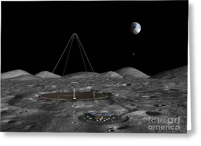 Lunar Base Greeting Cards - Lunar Liquid Mirror Telescope, Artwork Greeting Card by Walter Myers