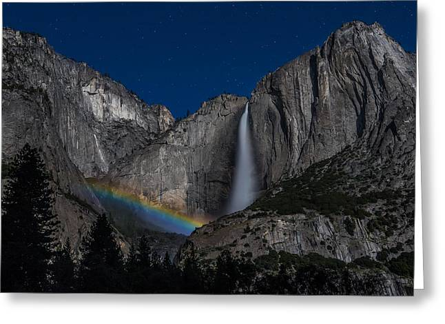 Lunar Greeting Cards - Lunar Moonbow at Yosemite Falls Greeting Card by Larry Marshall