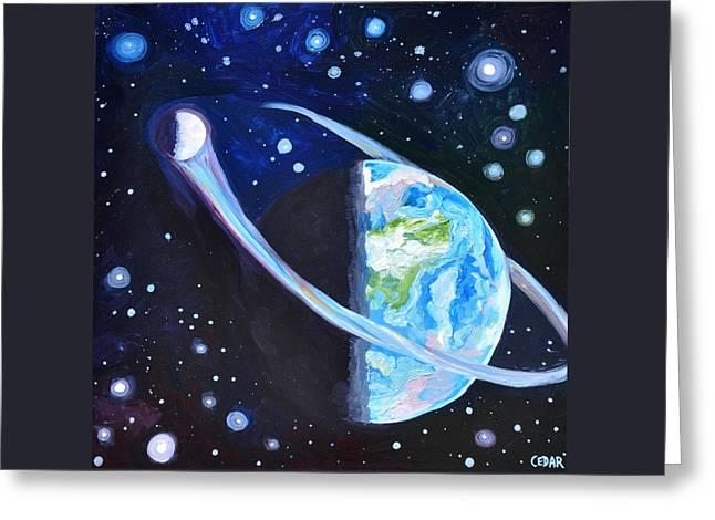 Stellar Paintings Greeting Cards - Lunar Orbit Greeting Card by Cedar Lee