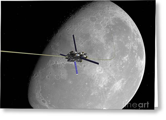 Synchronous Greeting Cards - Lunar Space Elevator Ascent, Artwork Greeting Card by Walter Myers