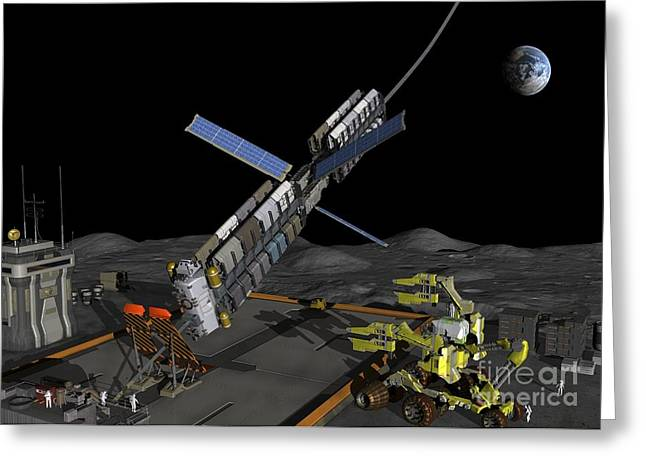 Synchronous Greeting Cards - Lunar Space Elevator Moon Base, Artwork Greeting Card by Walter Myers