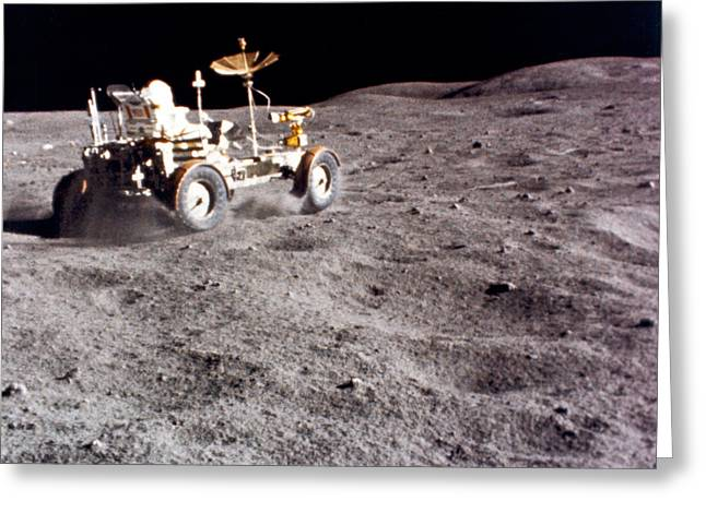 Lunar Vehicle Speed Run Greeting Card by Underwood Archives