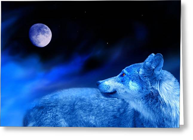 Wolf Moon Greeting Cards - Lunar Wolf 2 Greeting Card by Mal Bray