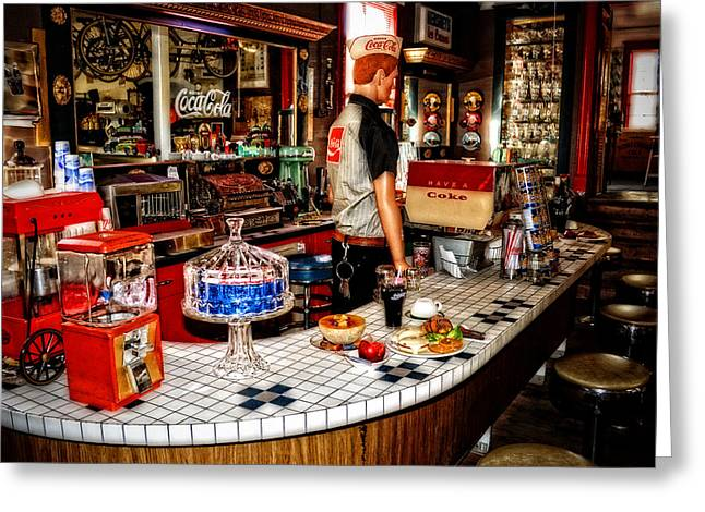 Old Diner Bar Stools Greeting Cards - Lunch At The Diner Greeting Card by Kathy Jennings