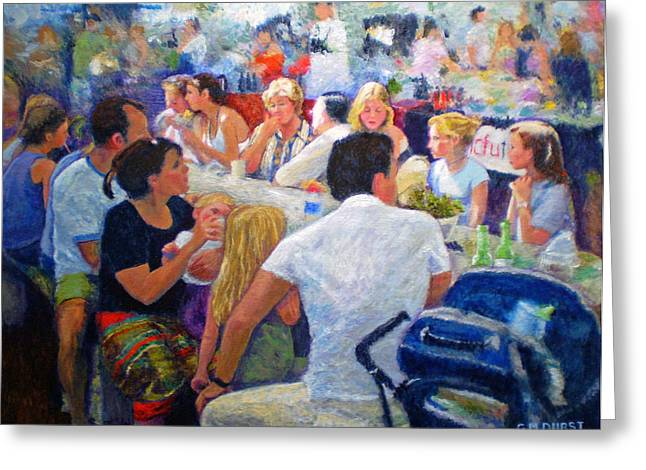 Impressionistic Realism Greeting Cards - Lunch at the O.B.M. Greeting Card by Michael Durst