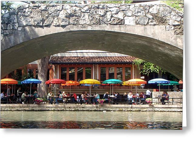 Kathleen Hill Greeting Cards - Lunch at the River Walk San Antonio Greeting Card by Kathy Peltomaa Lewis