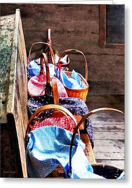 Lunch Baskets In One Room Schoolhouse Greeting Card by Susan Savad