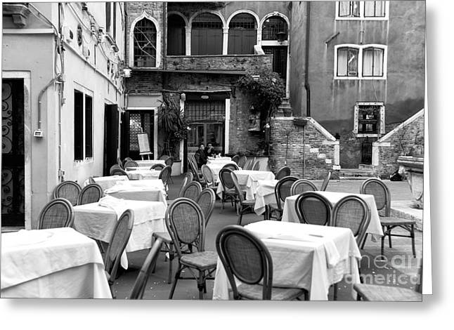 Italian Restaurant Greeting Cards - Lunch For Two in Venice Greeting Card by John Rizzuto