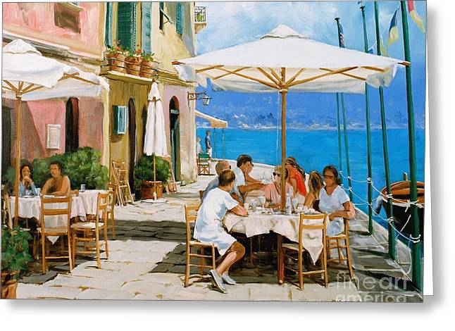Portofino Italy Greeting Cards - Lunch in Portofino Greeting Card by Michael Swanson