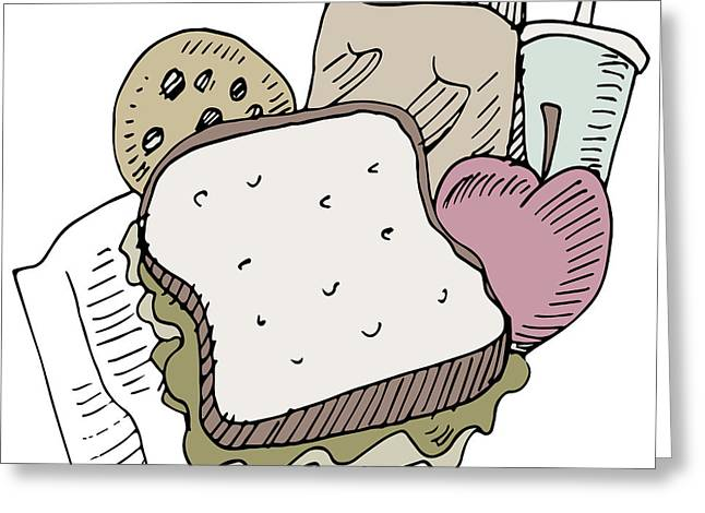 Sandwich Cookie Greeting Cards - Lunch Items Greeting Card by John Takai