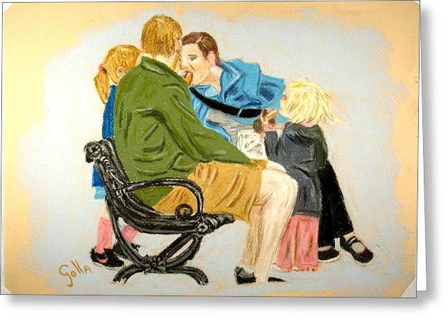 Father Pastels Greeting Cards - Lunch Greeting Card by Lawrence Golla