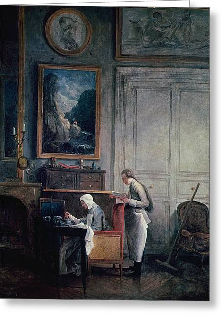 Eating Greeting Cards - Lunch Of Madame Geoffrin Oil On Canvas Greeting Card by Hubert Robert