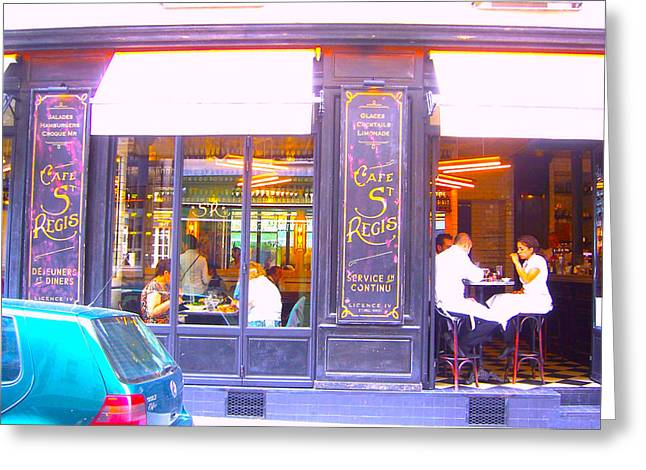 Canvas Wine Prints Greeting Cards - Lunch time at the Cafe St Regis in Paris Greeting Card by Jan Matson