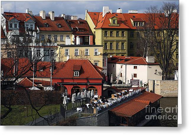 Lunch Time Greeting Cards - Lunch Time in Prague Greeting Card by John Rizzuto