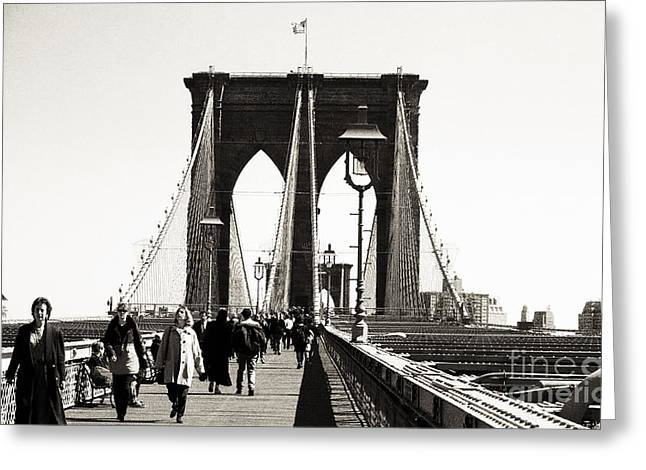 Lunch Time Greeting Cards - Lunch Time on the Bridge 1990s Greeting Card by John Rizzuto