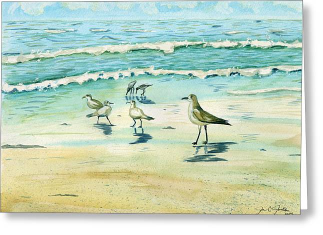 Outgoing Tide Greeting Cards - Lunch With the Gulls Greeting Card by Jill Jackson