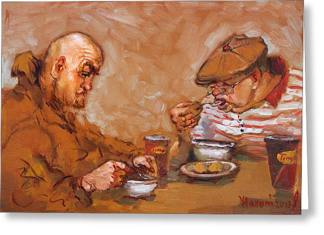 Tim Hortons Greeting Cards - Lunchtime at Tim  Greeting Card by Ylli Haruni