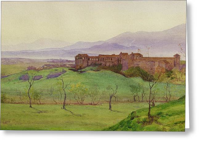 Italian Landscapes Drawings Greeting Cards - Lunghezza Half way Between Rome Greeting Card by Matthew Ridley Corbet