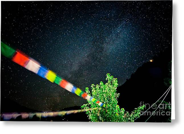 Spirituality Greeting Cards - Lunghta and Beautiful Himalaya Nightscape by Artmif Greeting Card by Raimond Klavins