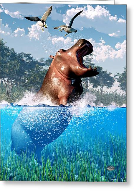 Hippopotamus Digital Greeting Cards - Lunging Hippo  Greeting Card by Daniel Eskridge
