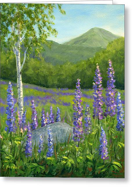 Canvas On Board Greeting Cards - LUPINE at SUGAR HILL Greeting Card by Elaine Farmer